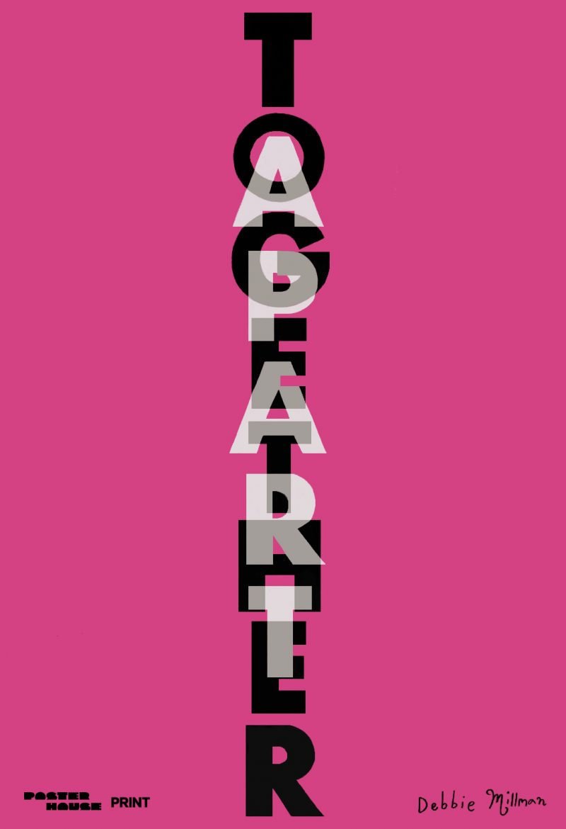 type-based poster of the words together apart layered over another against a pink background