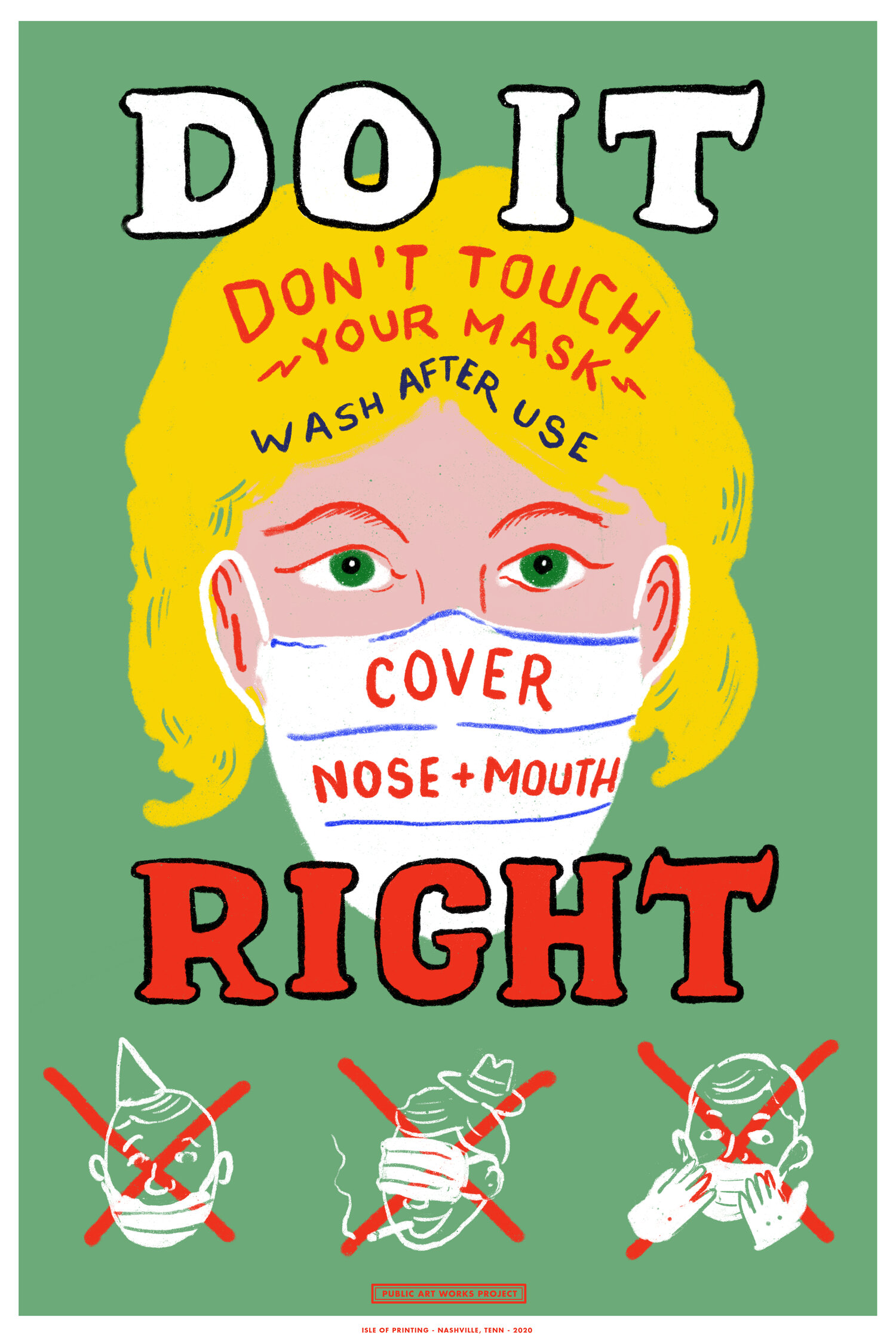 illustrative PSA poster of a woman wearing a mask and text informing you on how to safely wear a mask