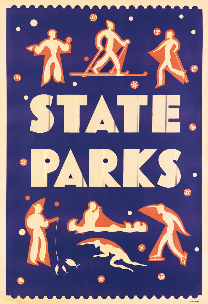illustrational poster of figures engaging in different outdoor activities and the text state parks