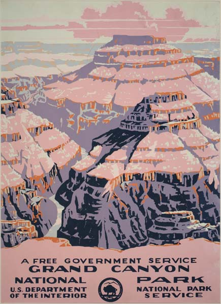 illustrational poster for Grand Canyon National Park of the view of the canyons