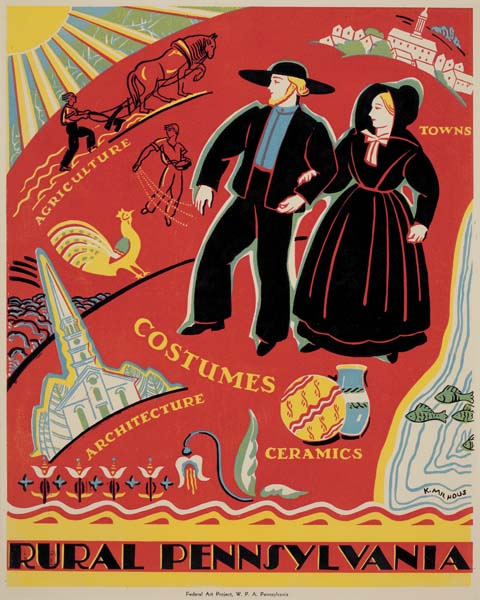 illustrational poster on the people and activities of rural Pennsylvania