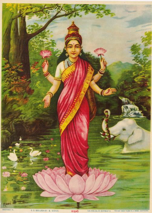 illustration of an Indian deity standing in a lotus flower on a river