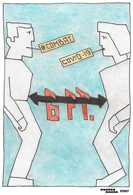 illustrative poster of a man and woman standing six feet apart both saying combat covid-19