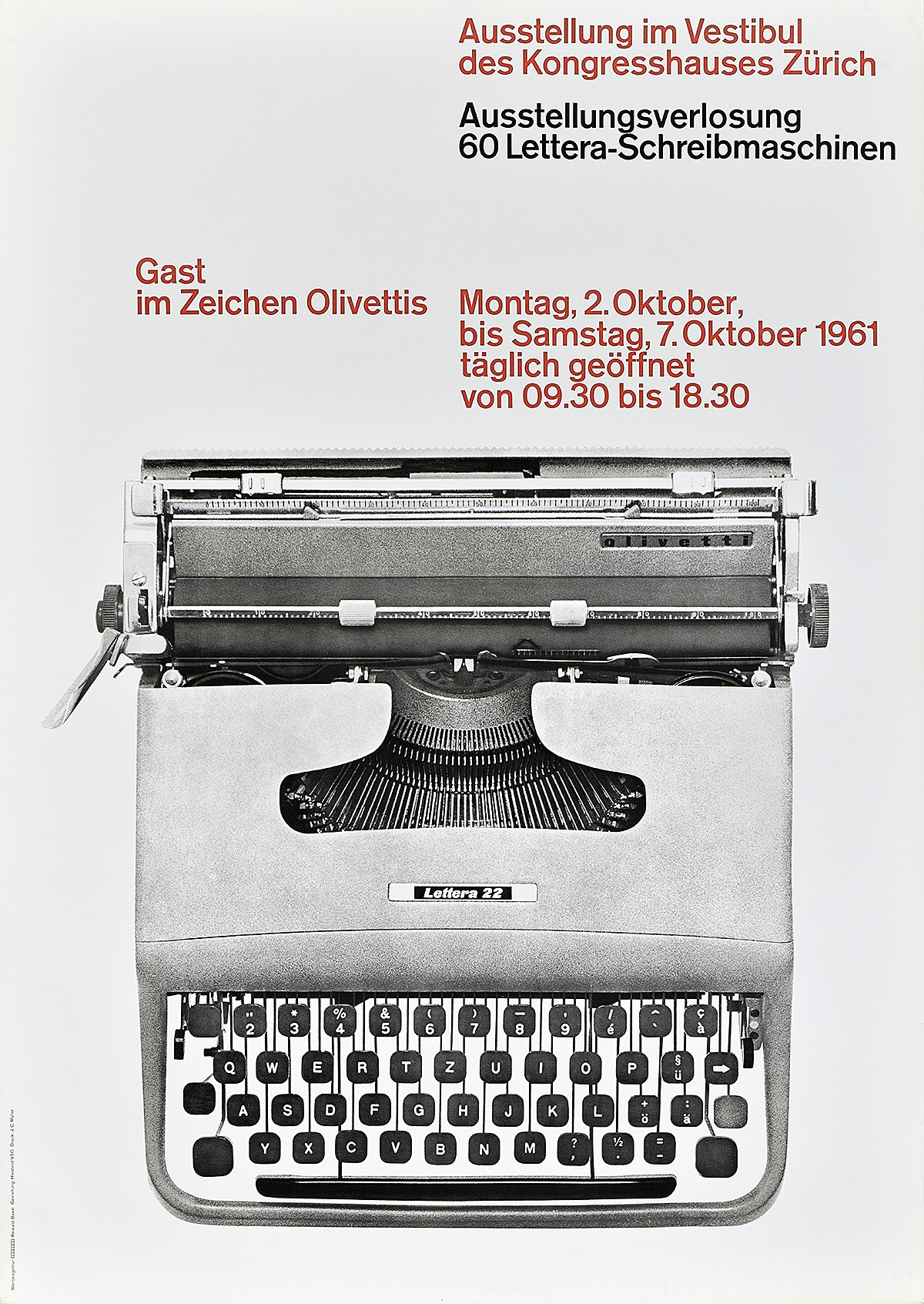 poster with of a black and white image of a typewriter and red and black text on a white background