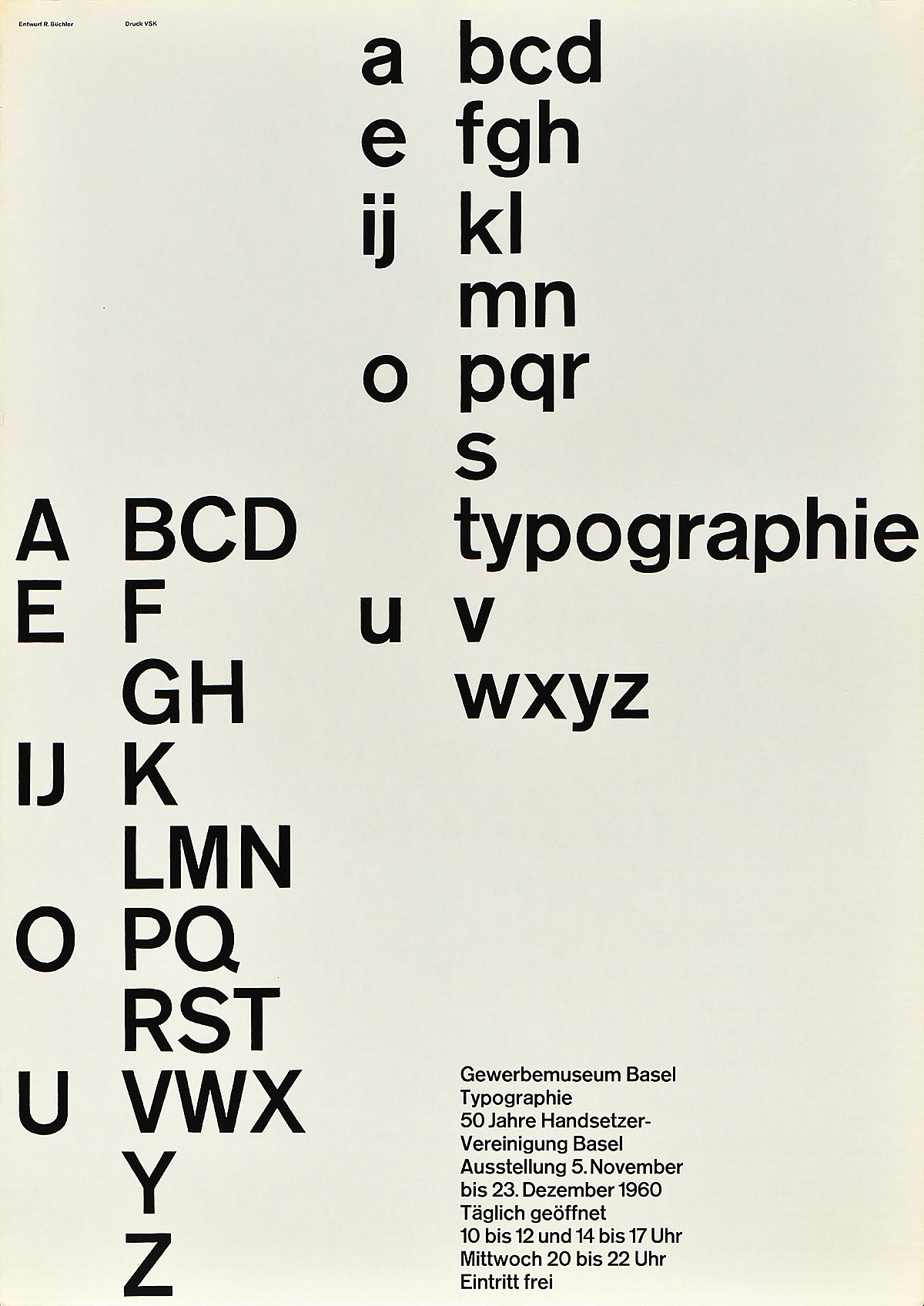 type-based poster of the alphabet running down the page vertically in black on a white background