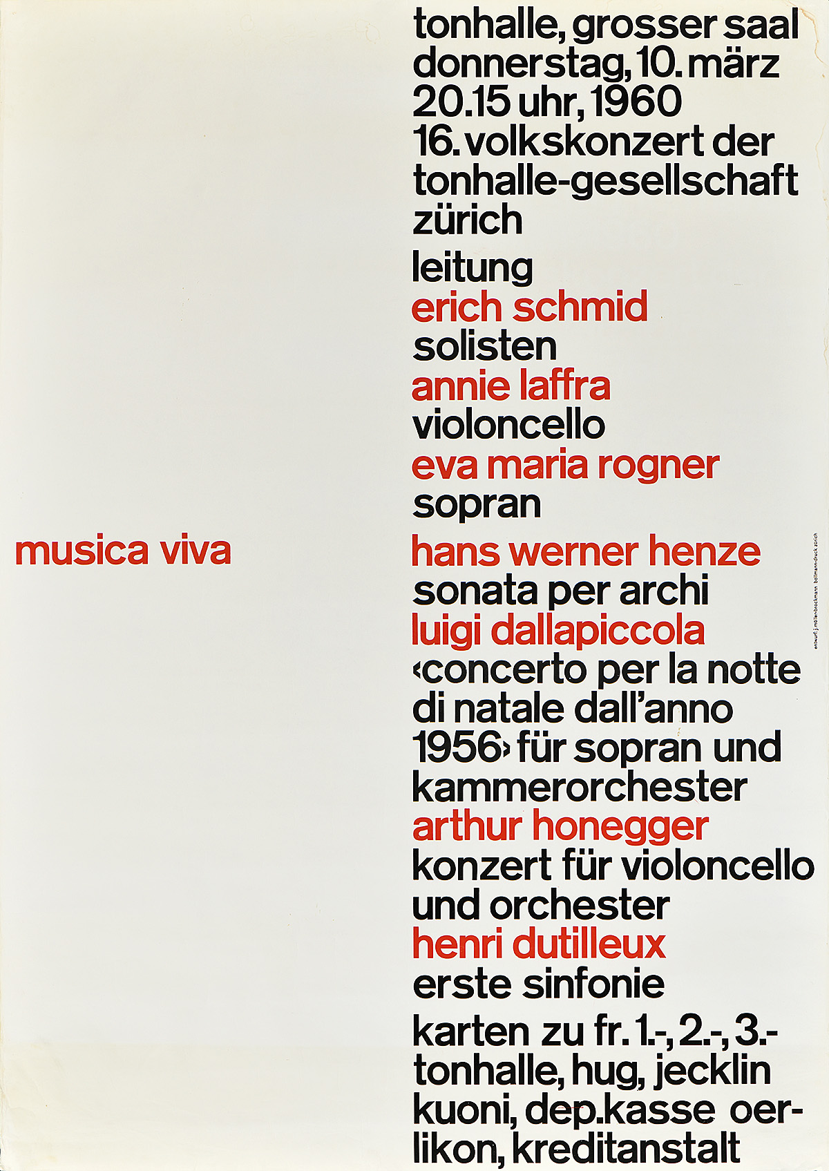 type-based poster for a music festival listing performers in black and red text against a white background
