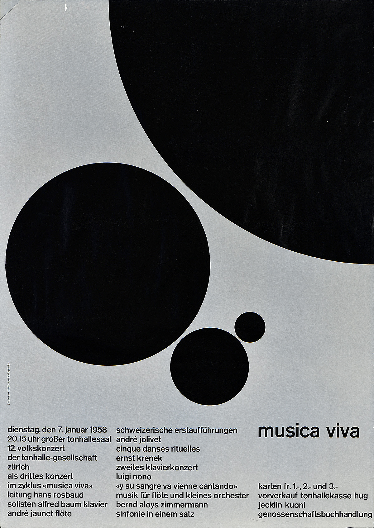 illustrational poster of four black circles of various sizes on a grey background