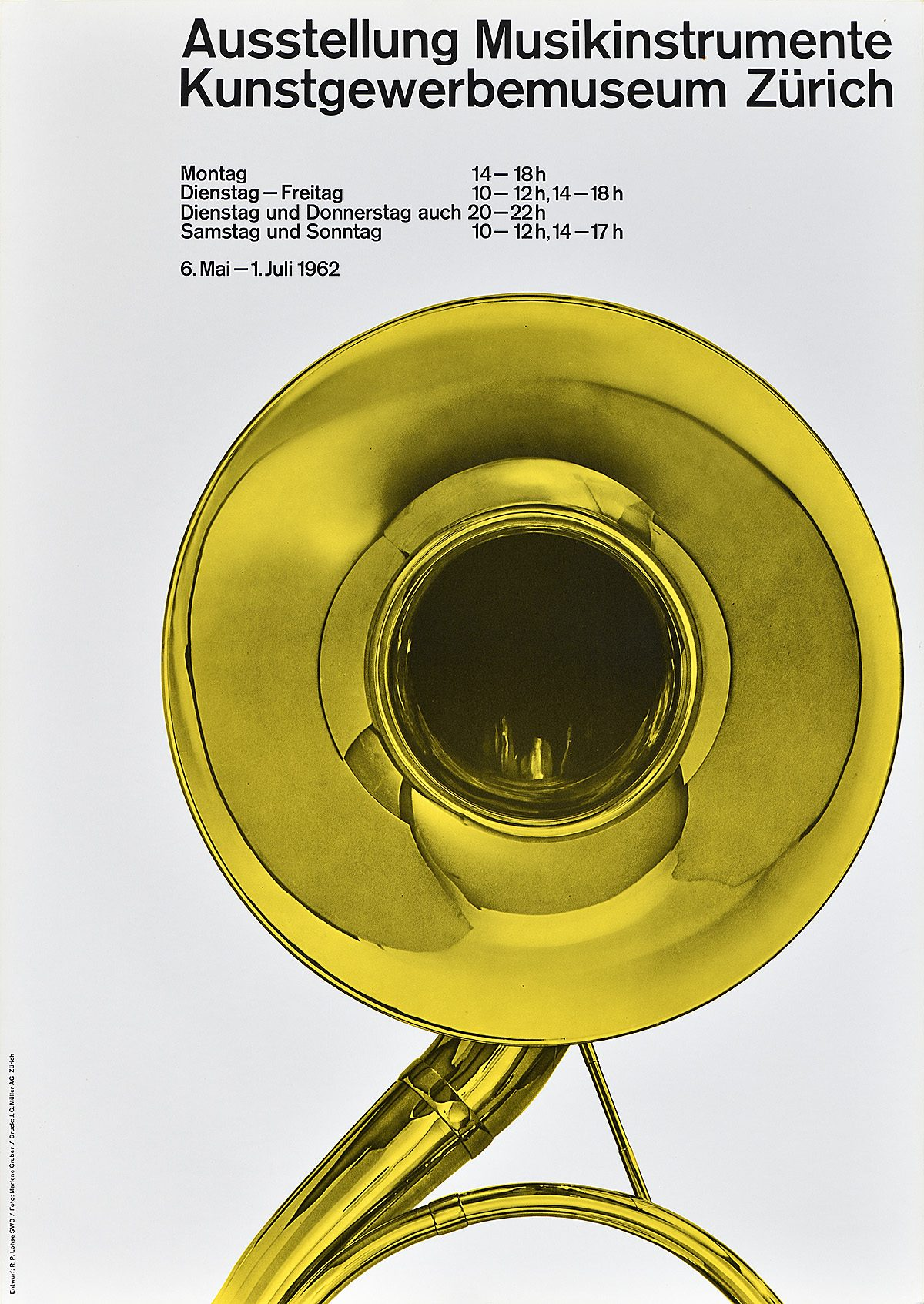 poster for a music festival with an image of a french horn