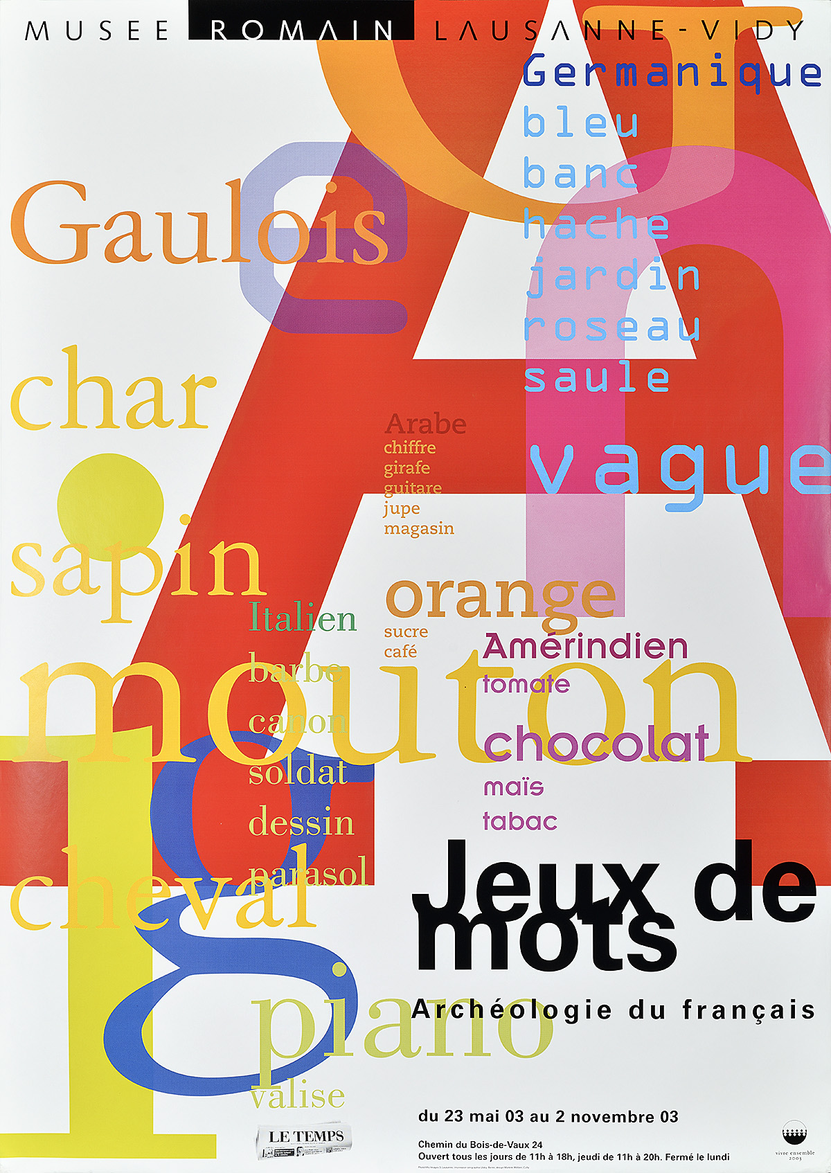 type-based poster of multi-colored letters and words of various sizes overlapping