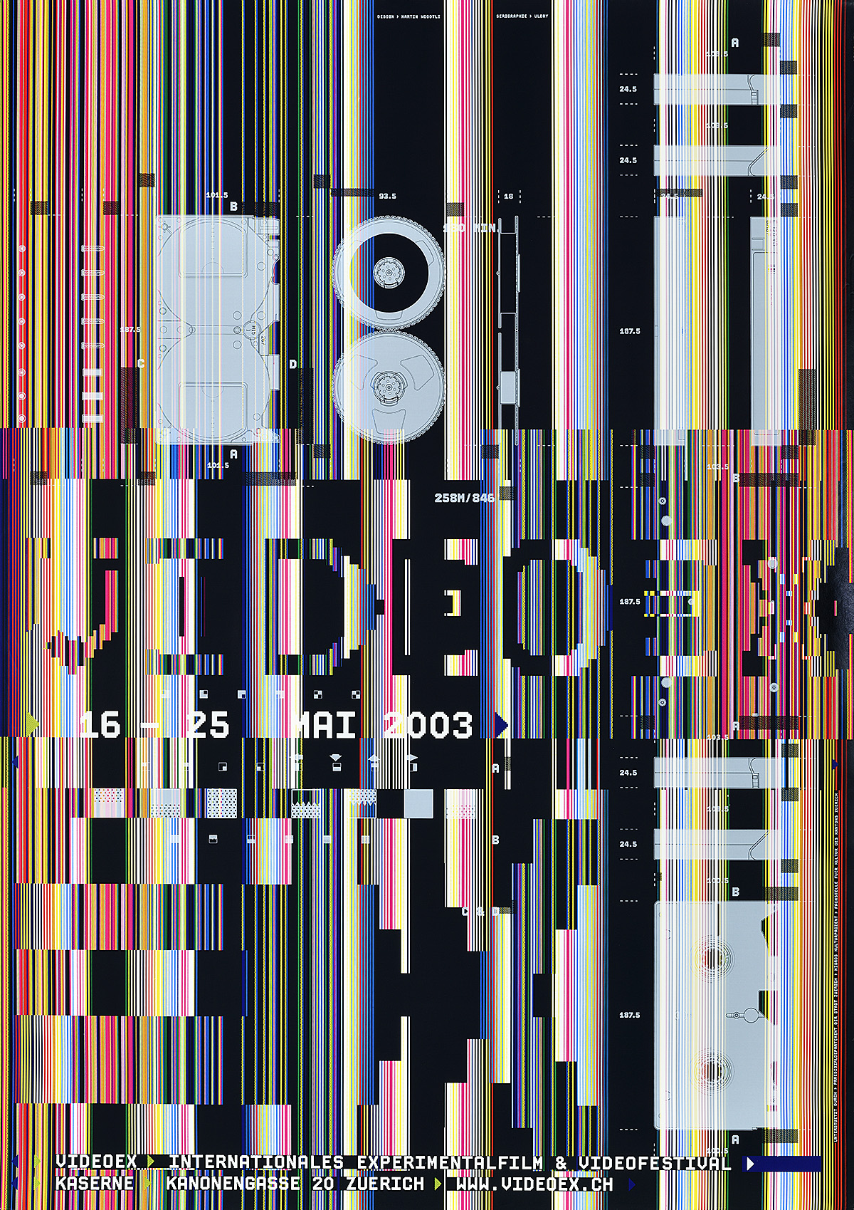 photographic poster of many video images overlapping
