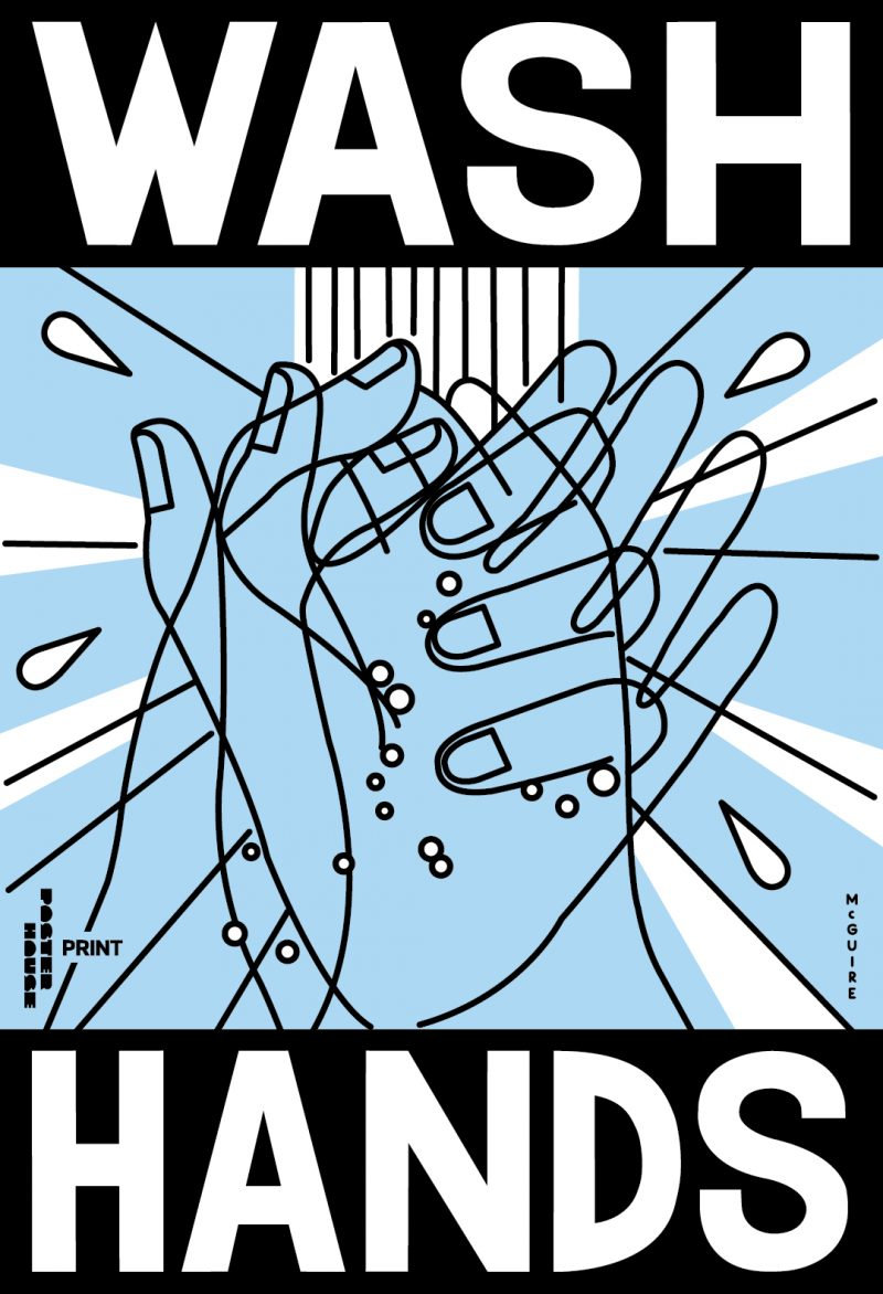illustrative poster and outline of hands been washed under running water with the title wash hands
