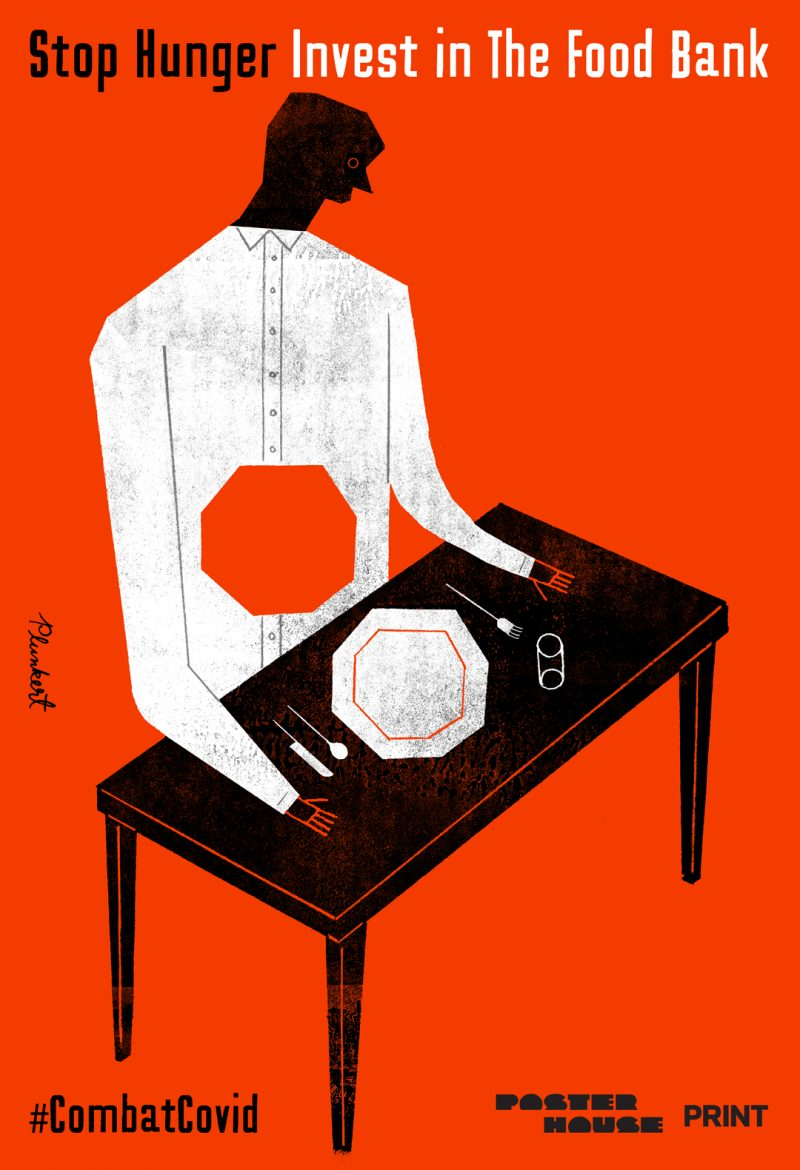 Illustrational poster of a figure sitting at a table with an empty plate and a hole in their stomach.