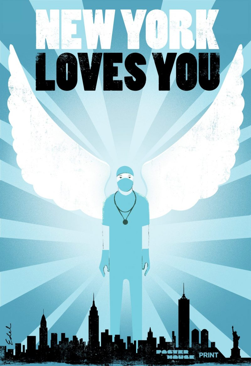illustrative poster of a nurse with wings standing behind the NYC skyline