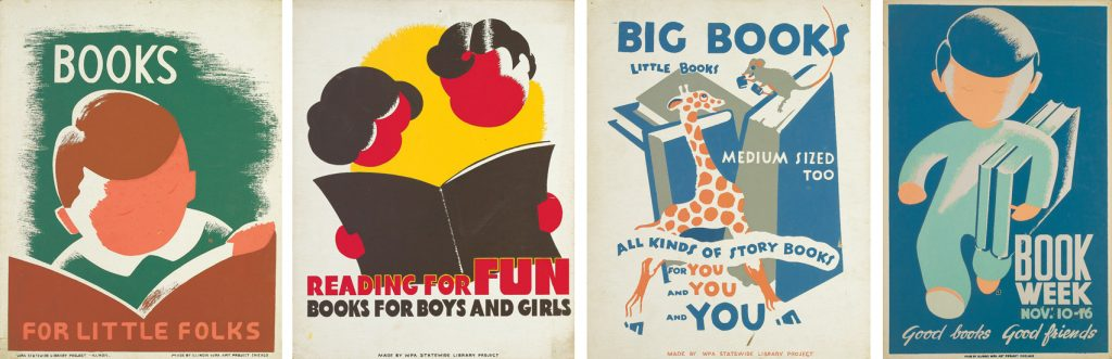four side by side illustrational posters on children reading books