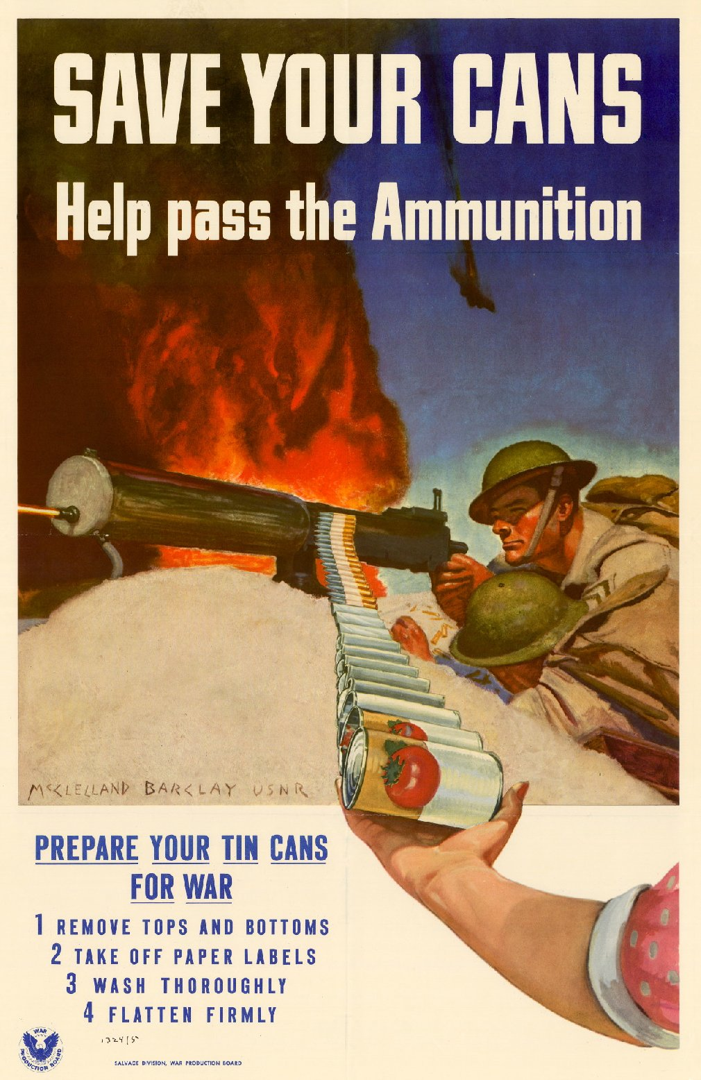 illustrative poster of tin cans being loaded into a gun to be used as ammunition