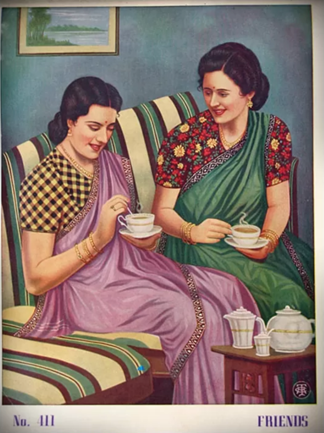 illustration poster of two Indian women sitting on a couch and having tea