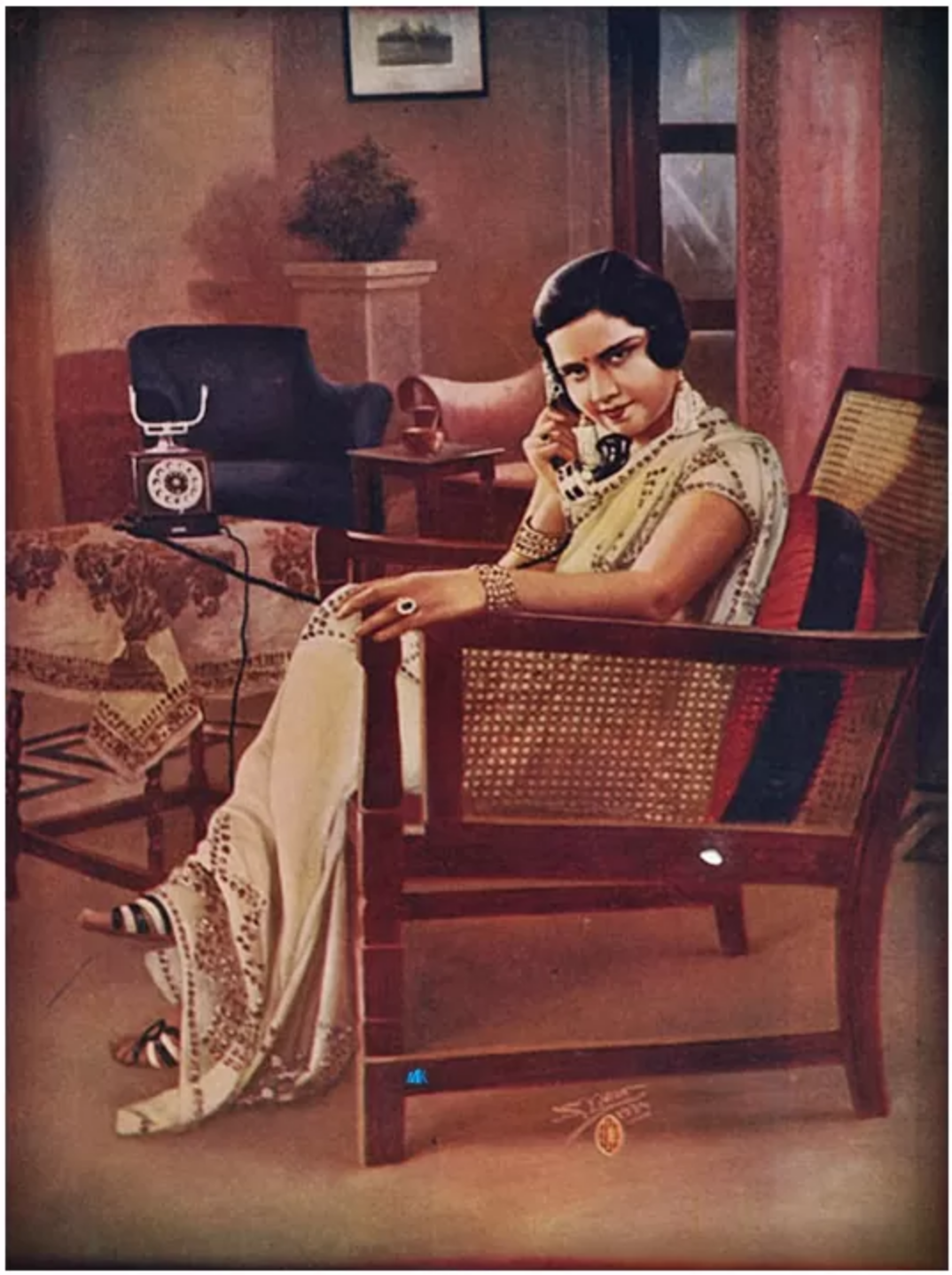 illustration of an Indian woman sitting in a chair while talking on the phone
