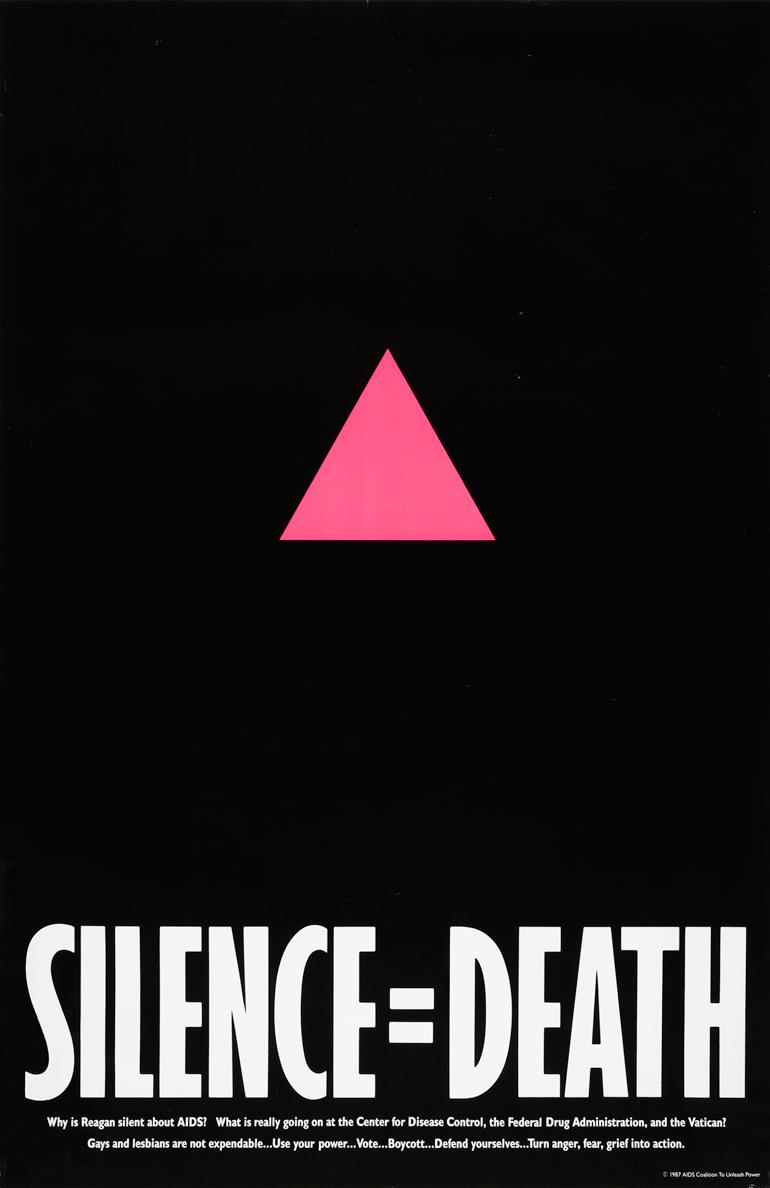 pink triangle and white text Silence = Death against a black background