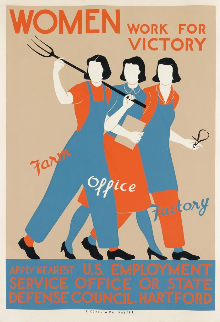 illustrational poster of three women in different occupations wearing red and blue uniforms and the text women work for victory