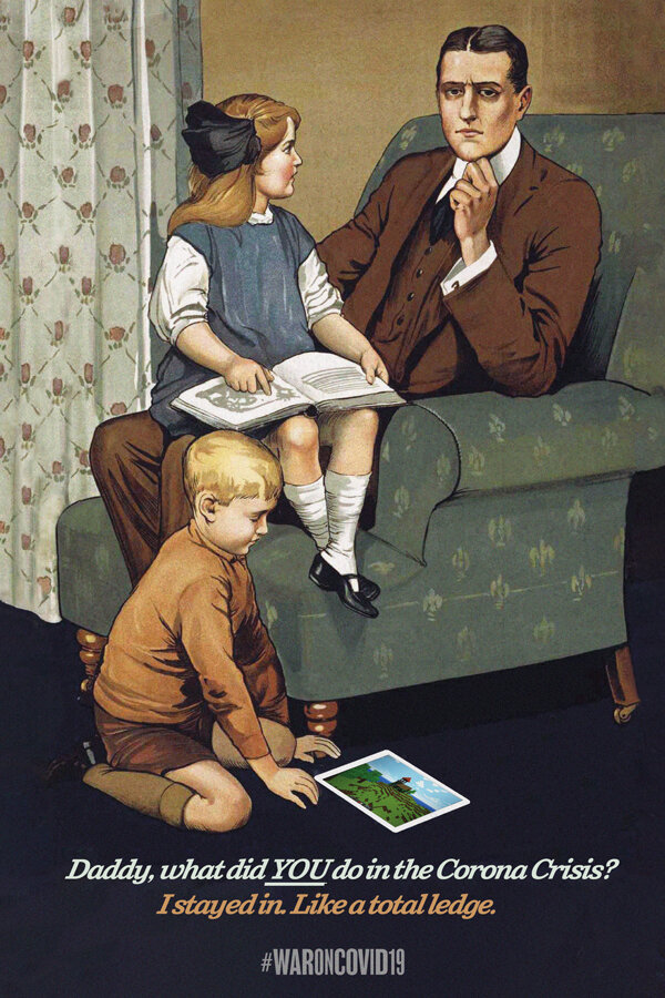 illustrative PSA poster of a contemplative father sitting on a sofa surrounded by his children