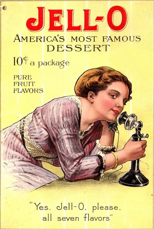 illustrational poster of a woman leaning over a table to speak into a telephone