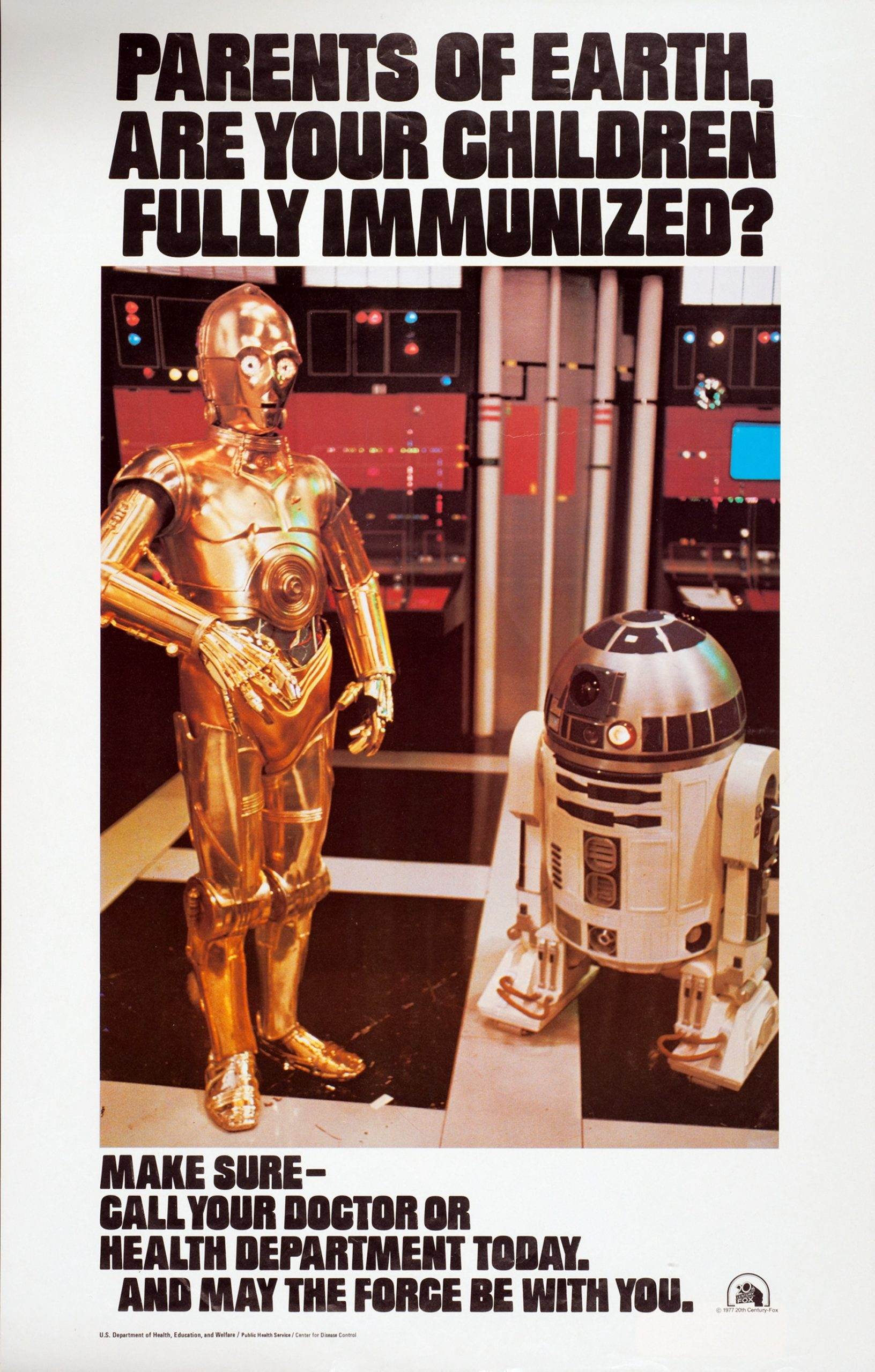 PSA poster on immunization with a photograph of the robots from Star Wars