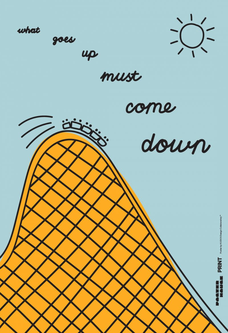 illustrative poster of the hill of a rollercoaster ride on a sunny blue day