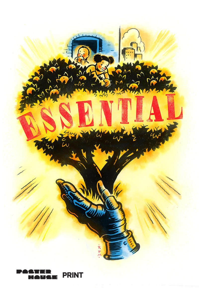 illustrative PSA poster on essential workers of an armored hand holding up a fruitful tree that children are picking