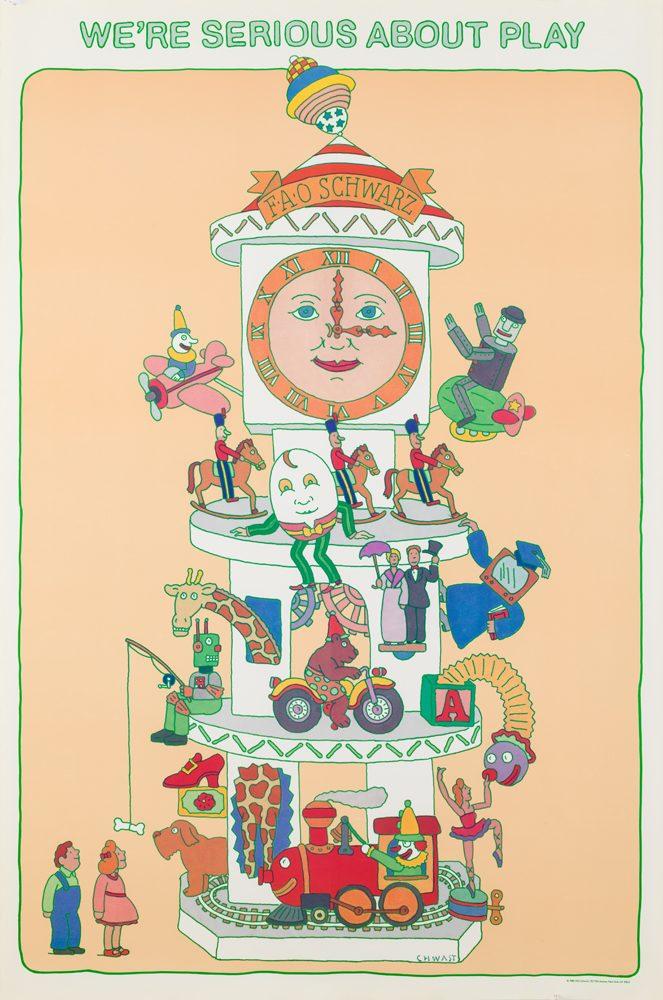 Illustrational poster of a live toy set titled,