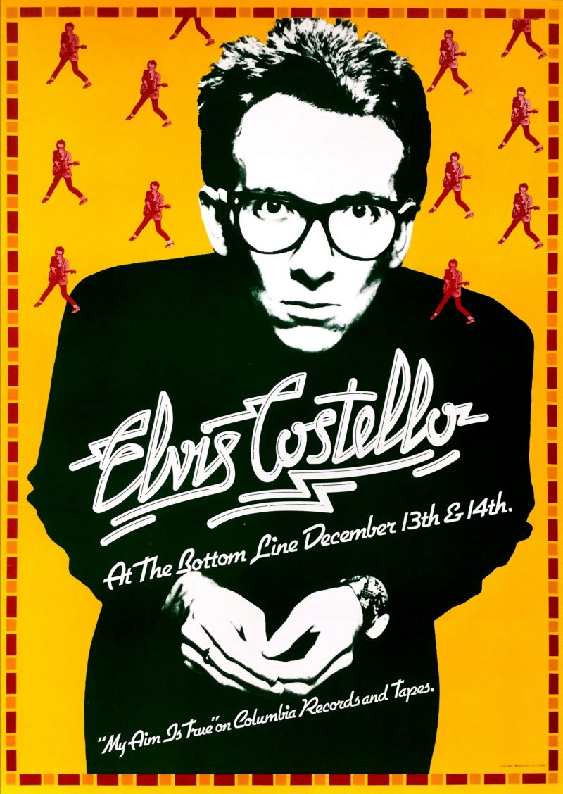 Photomontage and poster of Elvis Costello leaning to look into the camera against an orange background