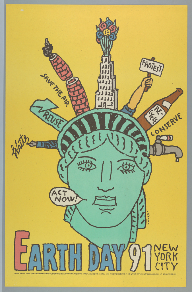 illustrational poster of the statue of liberty's head and its crown spikes replaced by objects and words