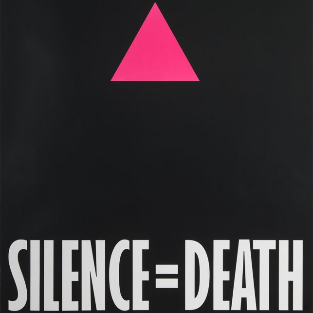 Silence = Death on a black background topped by a pink triangle
