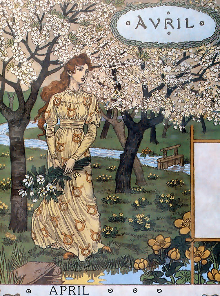illustrational poster of a woman in a garden amongst trees and flowers