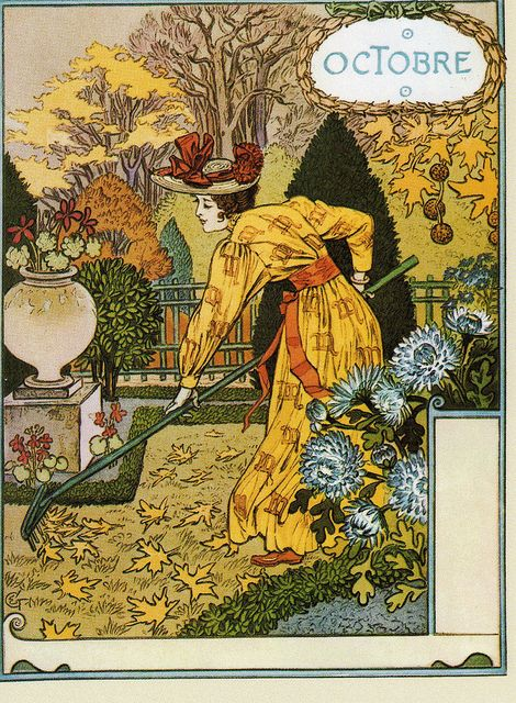 illustrational poster of a luxuriously dressed woman raking leaves