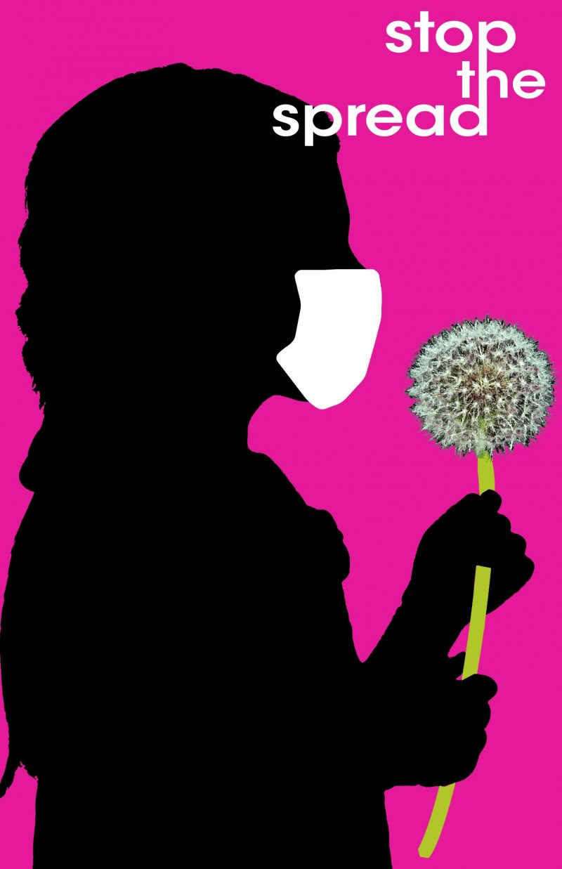 silhouette of a masked girl in profile holding a dandelion and the text stop the spread