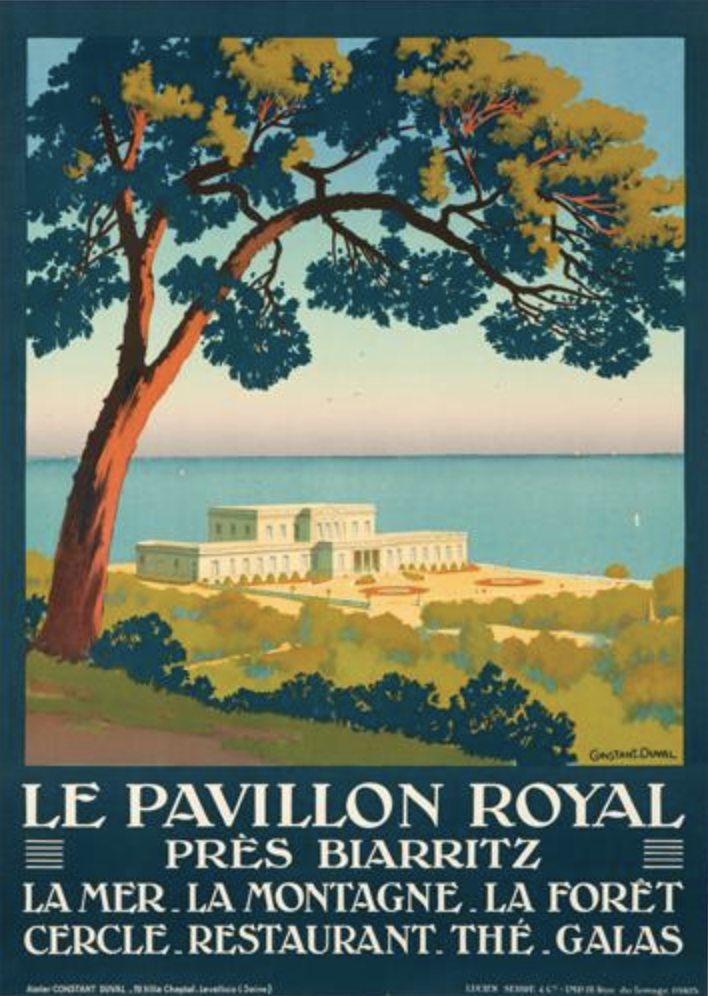 illustrational poster of a tree overlooking an estate by the water