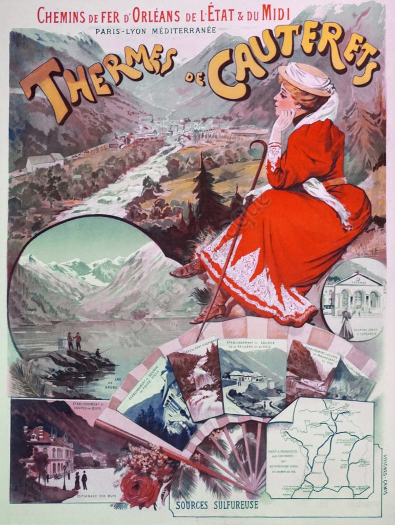 illustrational poster of woman sitting on a rock before a stream