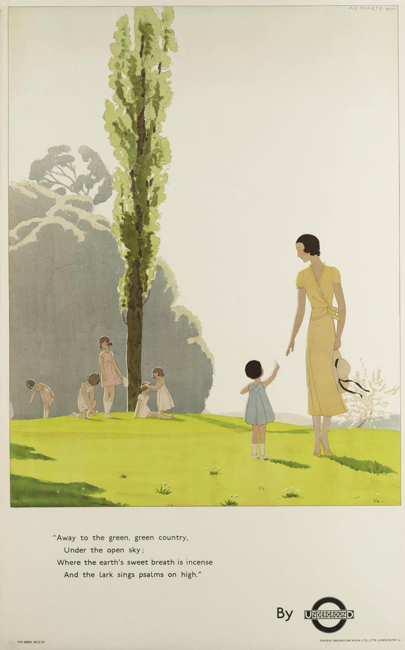 illustrational poster of a mother and daughter holding hands on lush grass