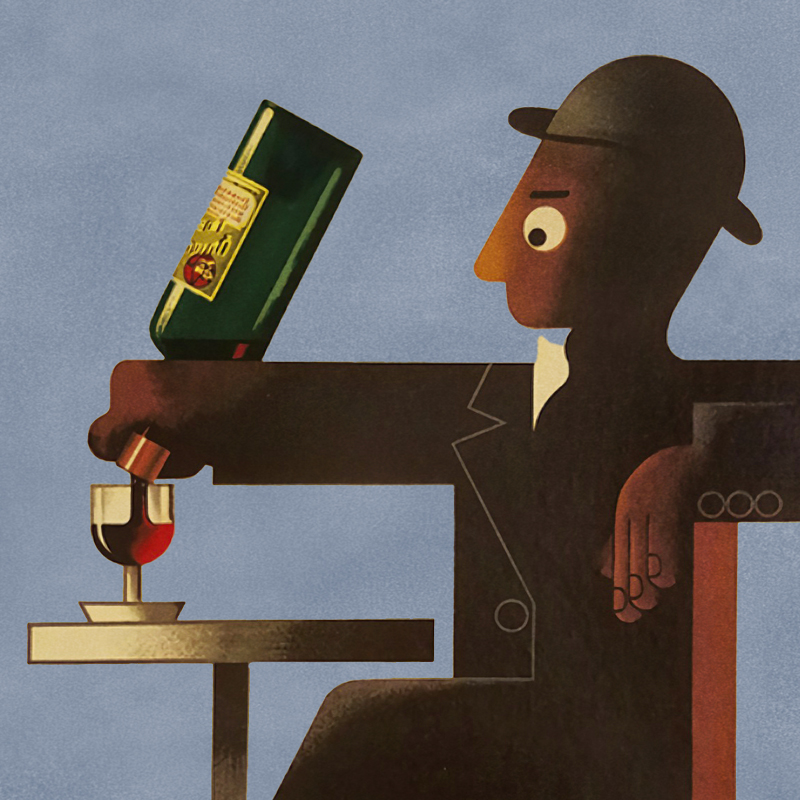 Illustrative poster of a figurine man pouring himself a glass of Dubonnet from the bottle