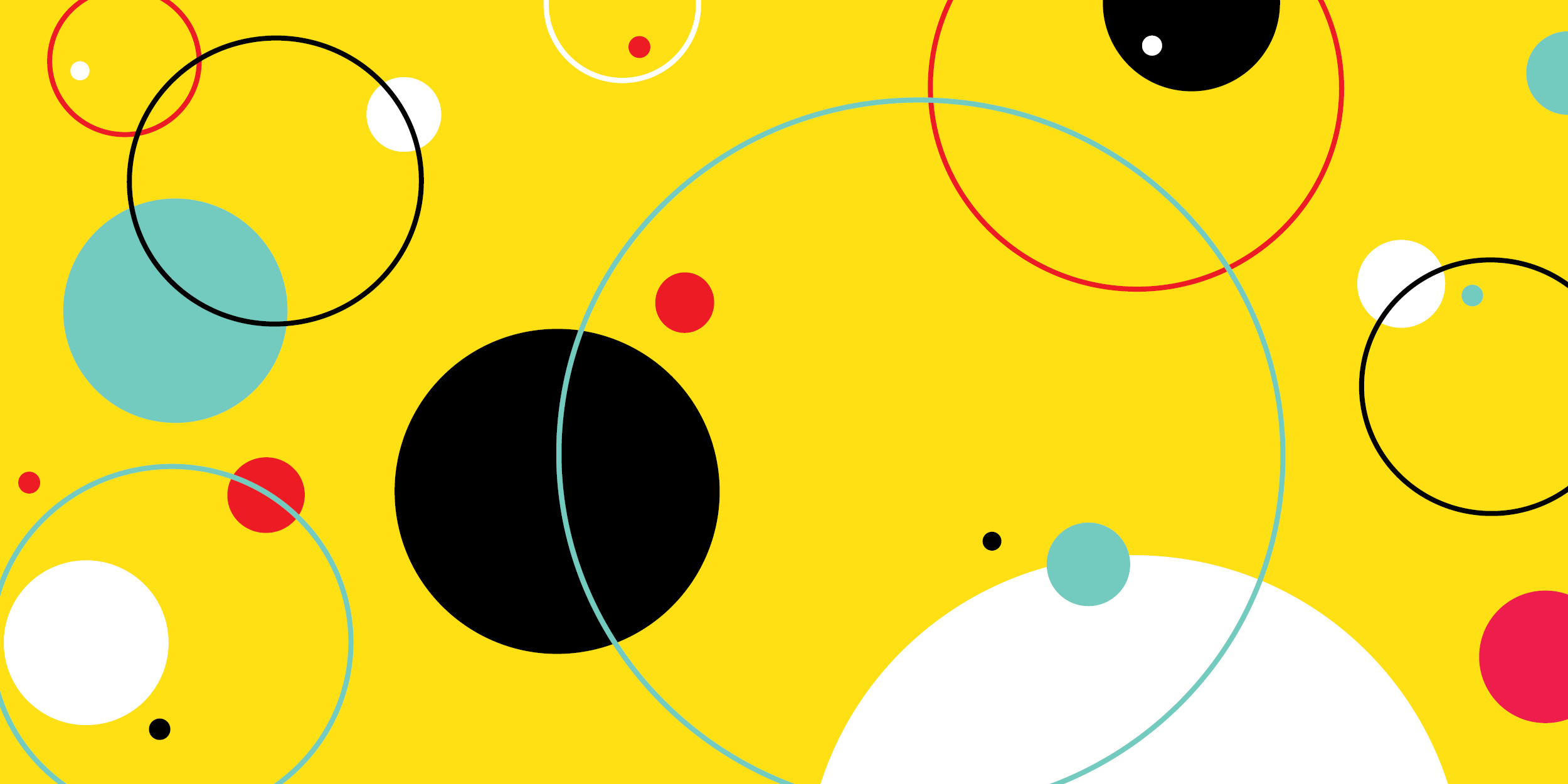 a composition of colorful circles and rings against a yellow background