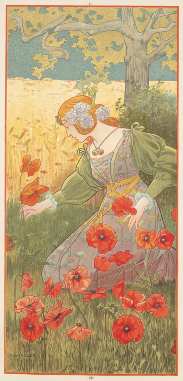 illustrational poster of a woman bending to pick flowers