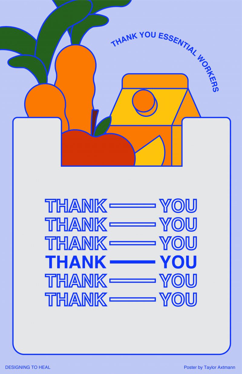 illustrational poster of a colorful groceries inside of a thank you shopping bag