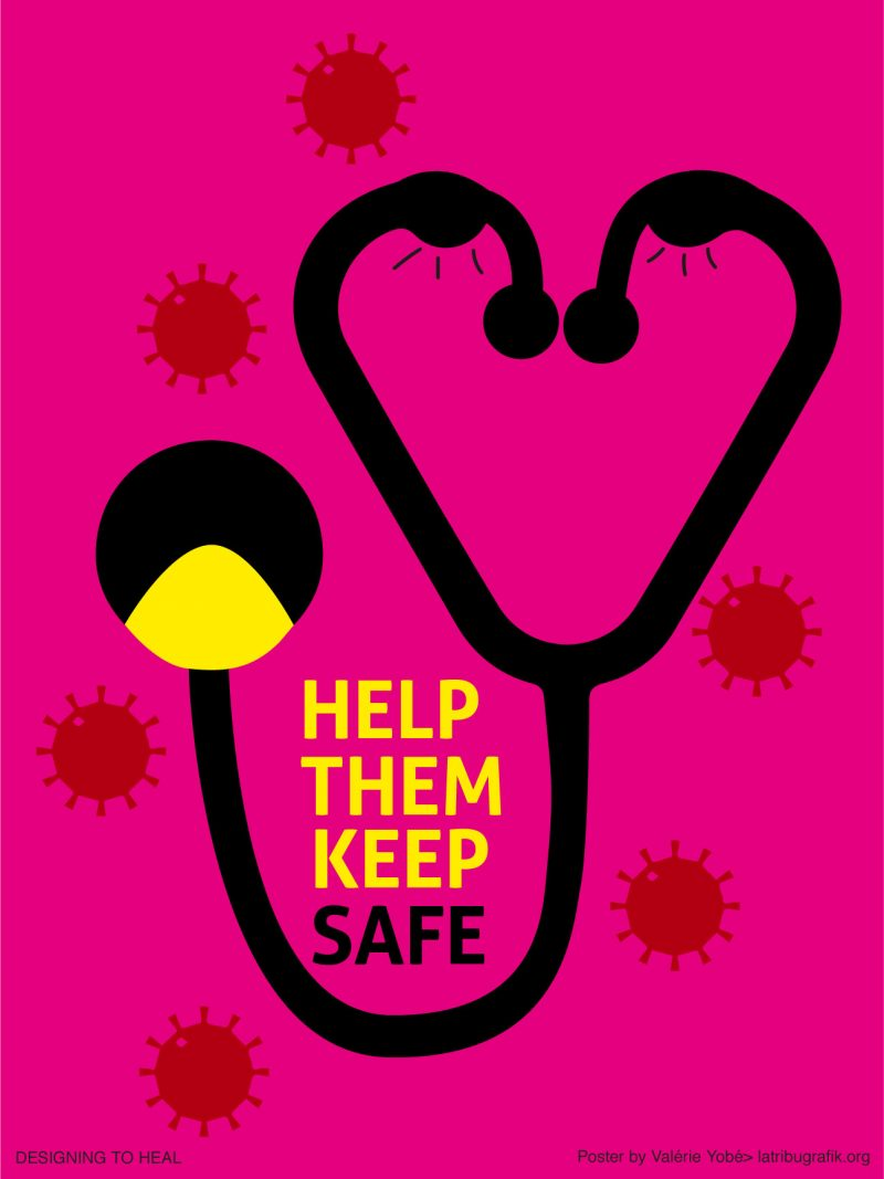 illustrational poster of a stethoscope that forms a face along with the words help keep them safe