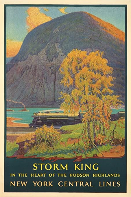 illustrational poster of a train passing by a lake and mountainside