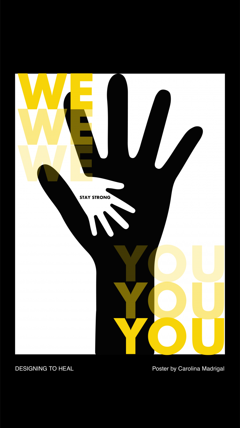 illustrative poster from the Designing To Heal workshop of two silhouetted hands overlapping and the text we and you