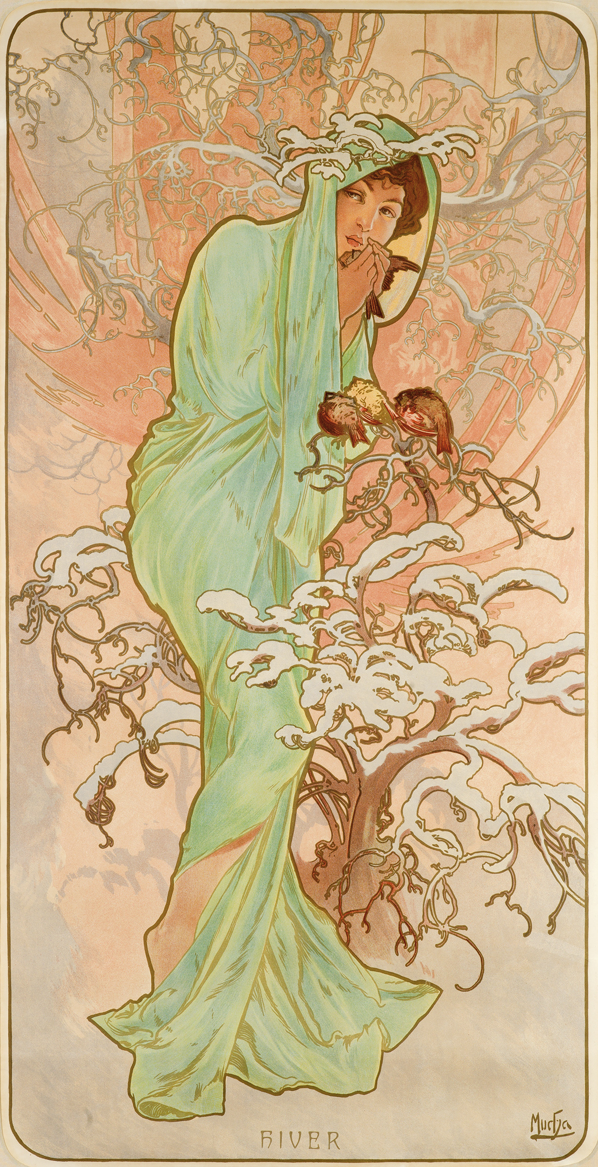 illustrational poster of a woman wrapped in a cloth amongst flowers