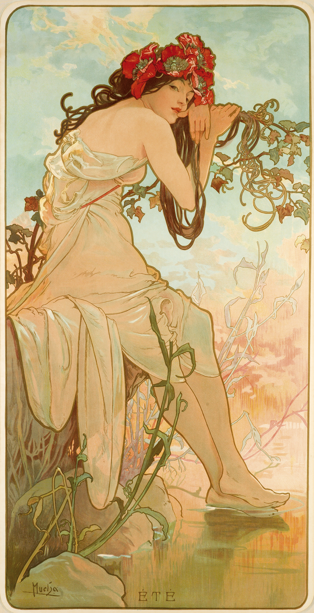 illustrational poster of a woman sitting on lakeside amongst flowers