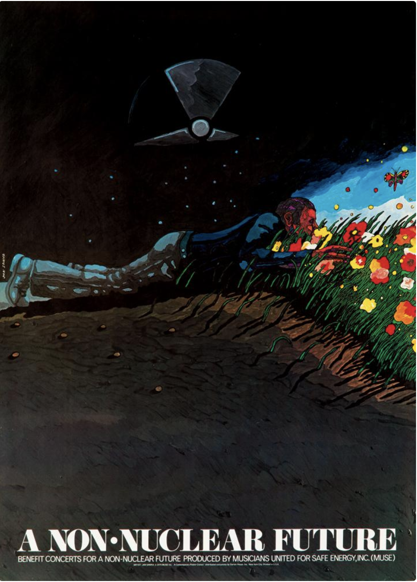 illustrational poster of a man on the ground with his face in grass and flowers