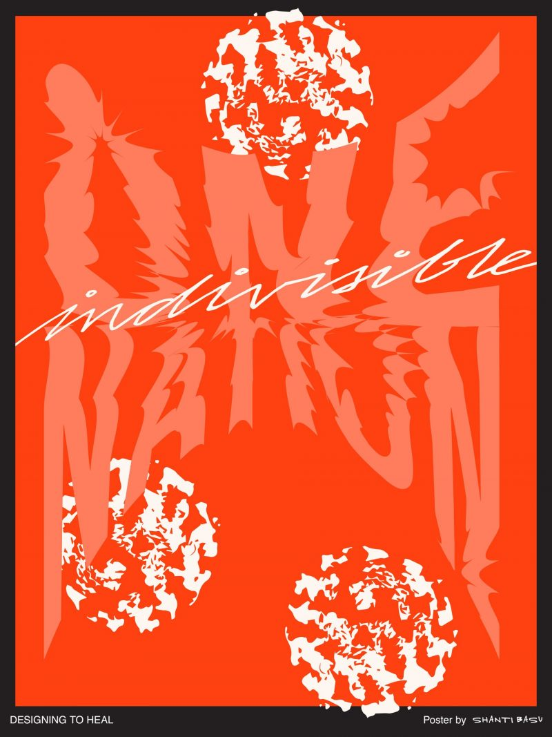 illustrational poster with circular white blotches and the words One Nation Indivisible against a red background