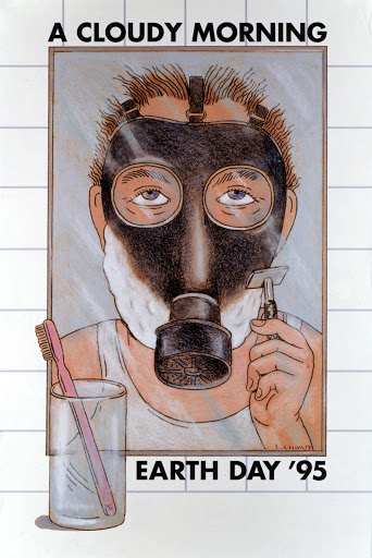 illustrational poster of a man wearing a gas mask shaving his face in the mirror